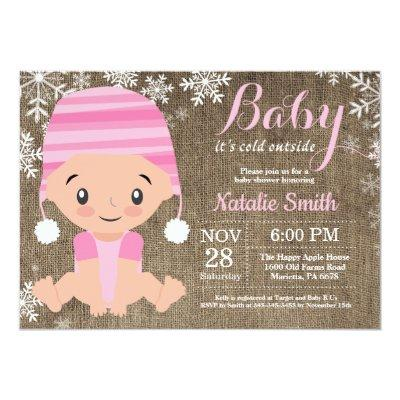 Winter Pink Girl Baby Shower Invitation Burlap