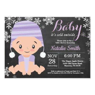 Winter Purple Baby Shower Invitation Chalkboard