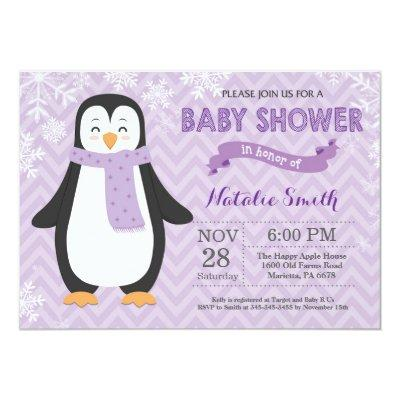 Winter Purple Penguin Girl Baby Shower Invitation