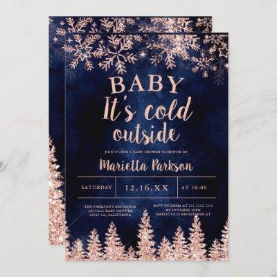 Winter rose gold snow pine navy baby shower invitation