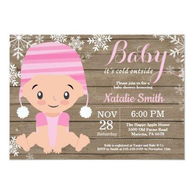 Winter Rustic Pink Girl Baby Shower Invitation