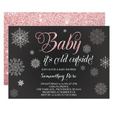 Winter Shower Invitation, Baby Pink Glitter Invitation