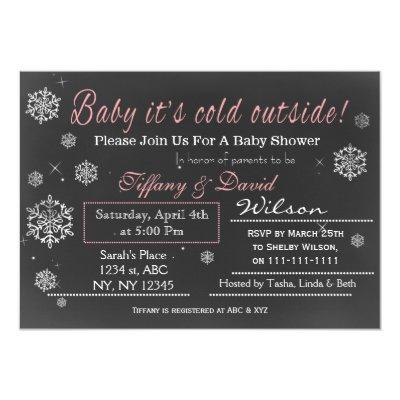 Winter Snow pink Couple's Baby shower Invitations