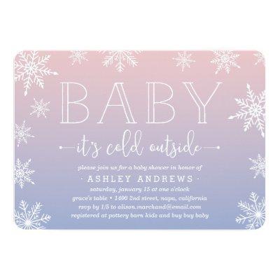 Winter Snowfall Baby Shower Invitations | Blush