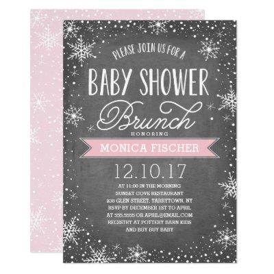 Winter Snowflake Baby Shower Brunch Chalkboard Invitation