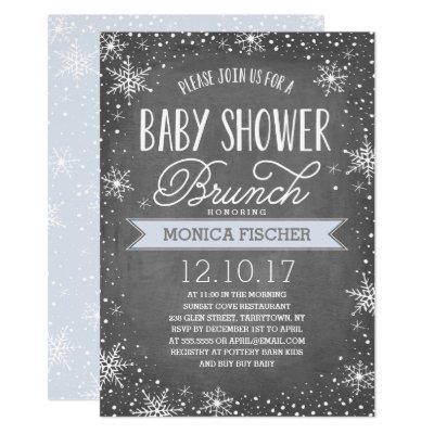 Winter Snowflake Baby Shower Brunch Chalkboard Invitation