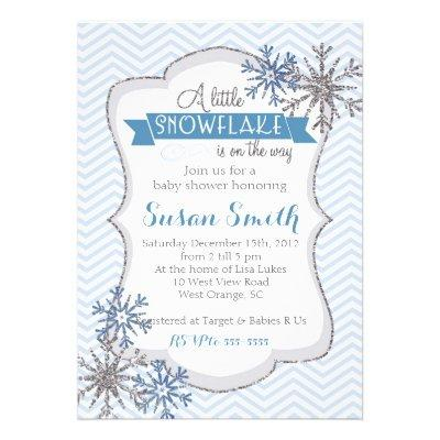 Little Snowflake Baby Shower Baby Shower Invitations Baby Shower