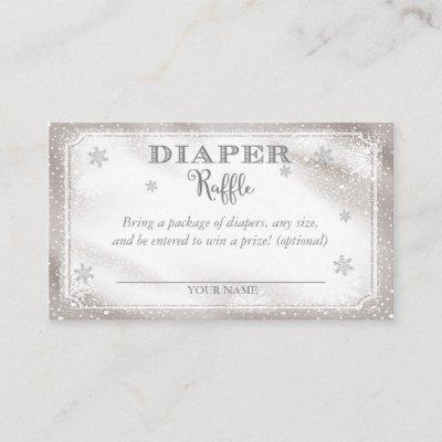 Winter Snowflake Diaper Raffle Card