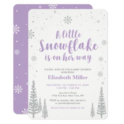 Winter Wonderland, Girl Baby Shower Invitation