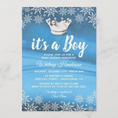 Winter Wonderland Little Prince Boy Baby Shower Invitation