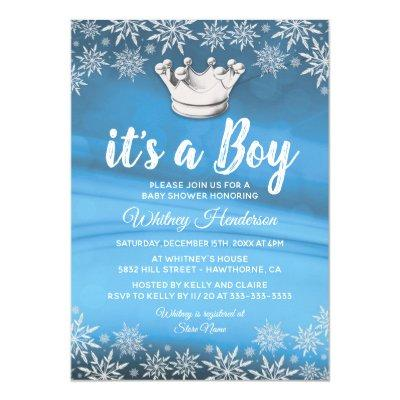 Winter Wonderland Little Prince Boy Baby Shower Invitations