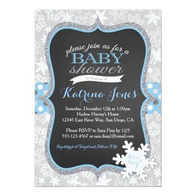 Winter Wonderland Snowflake baby shower Invitations
