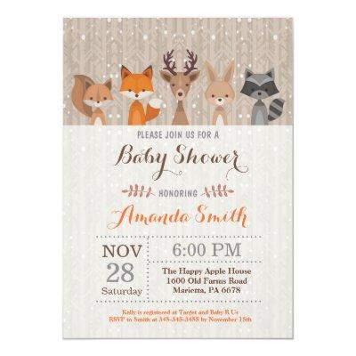 Winter Woodland Animal Baby Shower Invitation