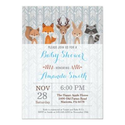 Winter Woodland Animal Boy Baby Shower Invitation