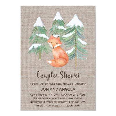 Winter Woodland Fox Couples Baby Shower Invitations