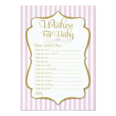 Wishes For Baby Pink Gold Girl Baby Shower Game Invitations