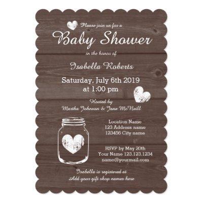Wood grain rustic mason jar baby shower Invitations