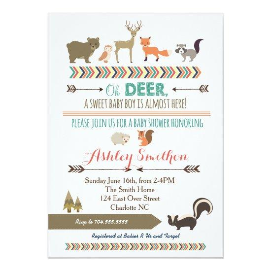 Woodland Animal Baby Shower Card