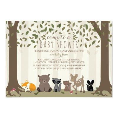 Woodland Animal Family Invitations
