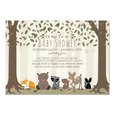 Woodland Animal Family Baby Shower Invitations
