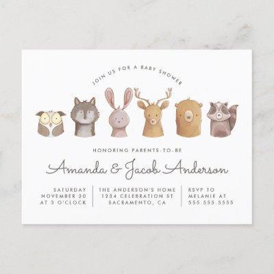 Woodland Animal Themed Baby Shower Invitation Postcard