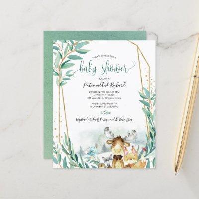 Woodland Animals Baby Shower Budget Invitations