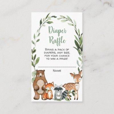 Woodland animals baby shower diaper raffle cards