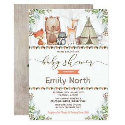 Woodland Animals Baby Shower Forest Friends Invitation