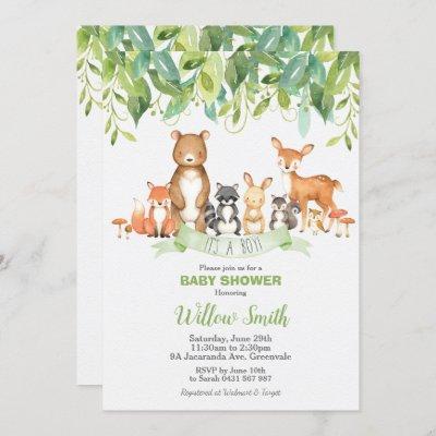 Woodland Animals Baby Shower Forest Greenery Boy Invitation