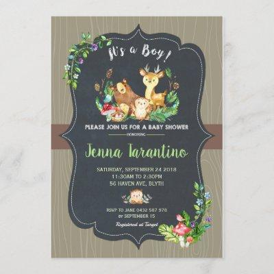 Woodland Animals Baby Shower Invitation Boy