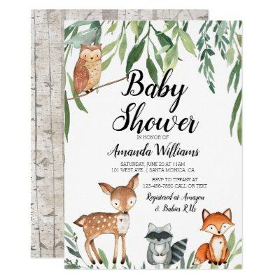 Woodland Animals Baby Shower Invitations Greenery