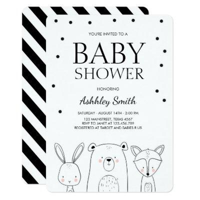 Woodland Animals Baby shower invite Forest Fox