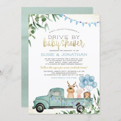 Woodland Animals Boy Drive By Baby Shower Parade Invitation