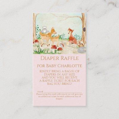 Woodland Animals Fox Deer Diaper Raffle Girl Baby Business Card