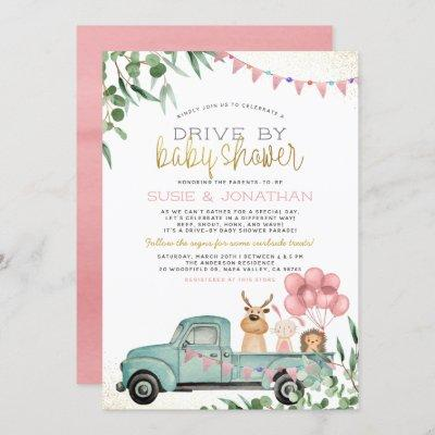 Woodland Animals Girl Drive By Baby Shower Parade Invitation