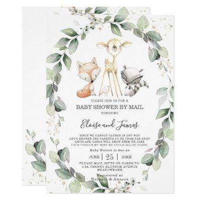 Woodland Animals Greenery Baby Shower by Mail Invitation