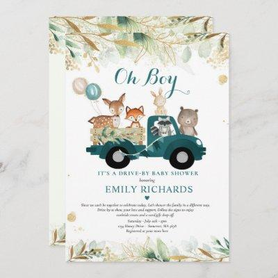 Woodland Animals Greenery Drive By Baby Shower Invitation
