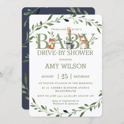 Woodland Animals Greenery Drive By Baby Shower Invitation