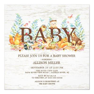 Woodland Animals Neutral Baby Shower Invitations