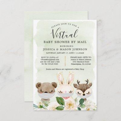 Woodland Animals Virtual Baby Shower Invites Green