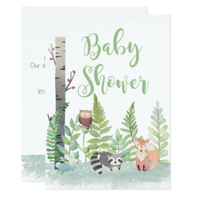 watercolor woodland animals baby shower invitations baby shower