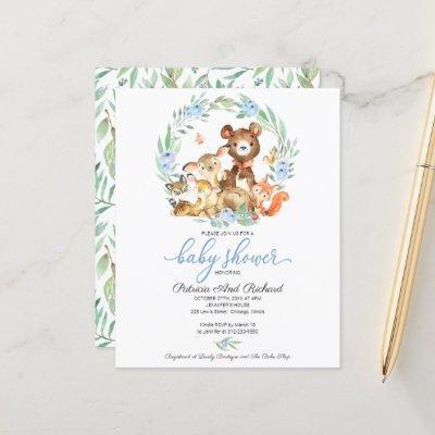 Woodland Baby Shower Budget Invitation