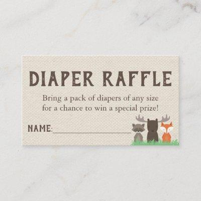 Woodland Baby Shower Diaper Raffle Tickets Enclosure Card