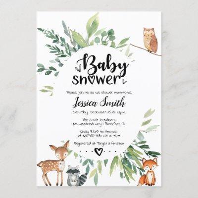 Woodland Baby Shower Invitation Animals Greenery