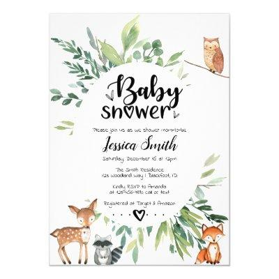 Woodland Baby Shower Invitations Animals Greenery