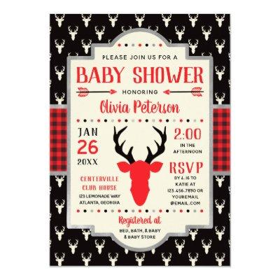Woodland Baby Shower Invitations, Buffalo Plaid Invitations
