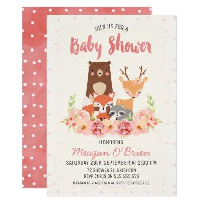 Woodland Baby Shower Invitations For Girl