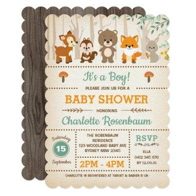 Woodland Baby Shower Invitations Forest Animals