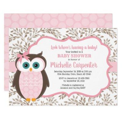 woodland baby shower invitation girl pink brown