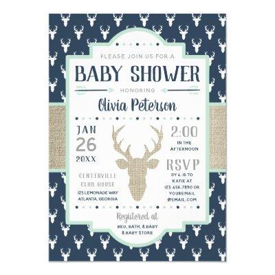 Woodland Baby Shower Invitation, Navy, Burlap Invitation